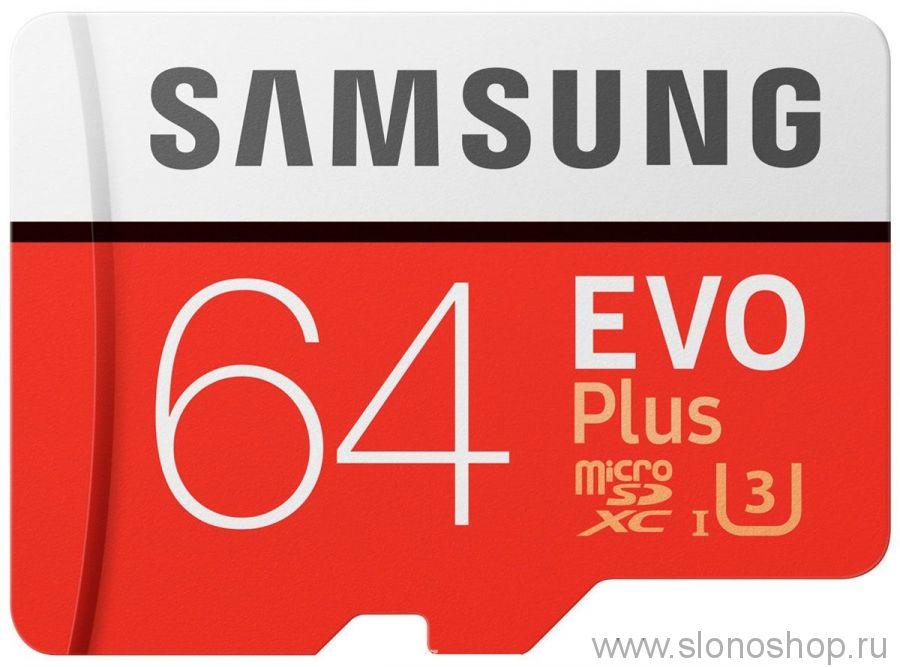Карта памяти Samsung EVO Plus micro SDXC 64Gb. Class 10. Оригинал