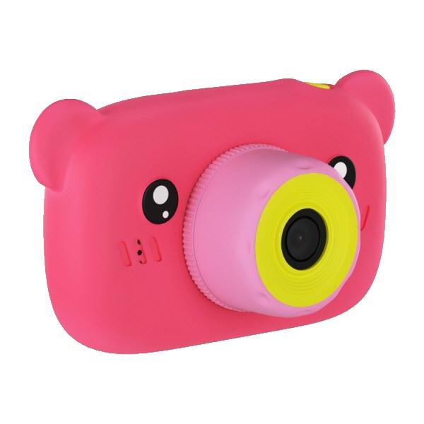 Детский цифровой фотоаппарат с селфи камерой. Мишка. Цвет: Розовый