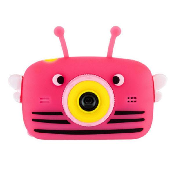 Детский цифровой фотоаппарат с селфи камерой. Пчела. Цвет: Фуксия