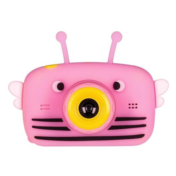 Детский цифровой фотоаппарат с селфи камерой. Пчела. Цвет: Розовый