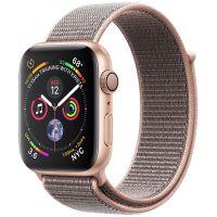 Apple Watch Series 4 GPS, Корпус: Алюминий, Ремешок: Спортивный браслет цвета «розовый песок»