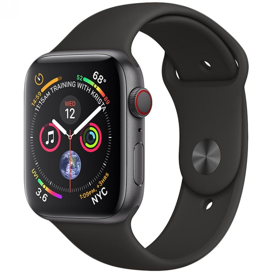 Apple Watch Series 4 GPS, Корпус: Алюминий, Ремешок: Cпортивный ремешок чёрного цвета
