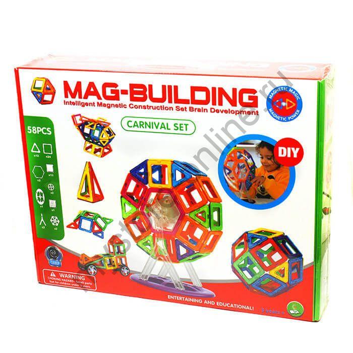 Магнитный конструктор MAG BUILDING 20, 28, 36, 49, 58 деталей