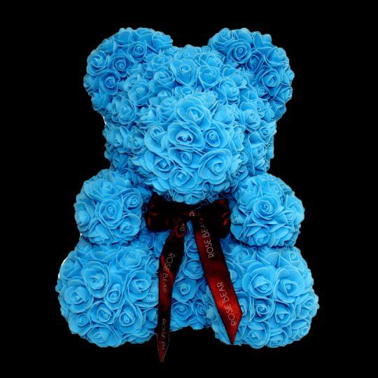Мишка из роз (голубой), 40 см