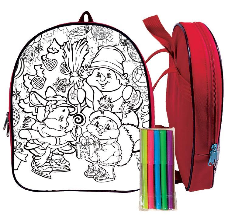 Рюкзак-раскраска красный 1300 грамм