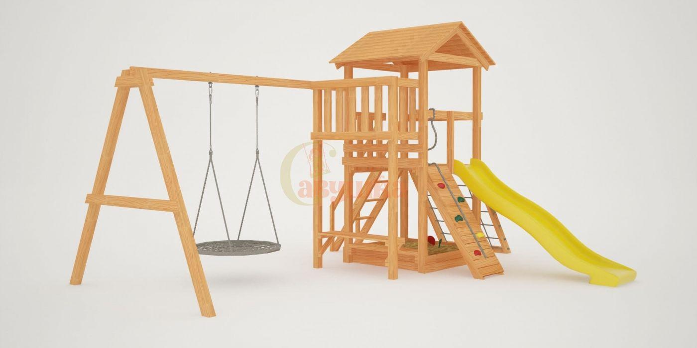 Детская площадка Савушка Мастер 2 с качелями Гнездо 1 метр