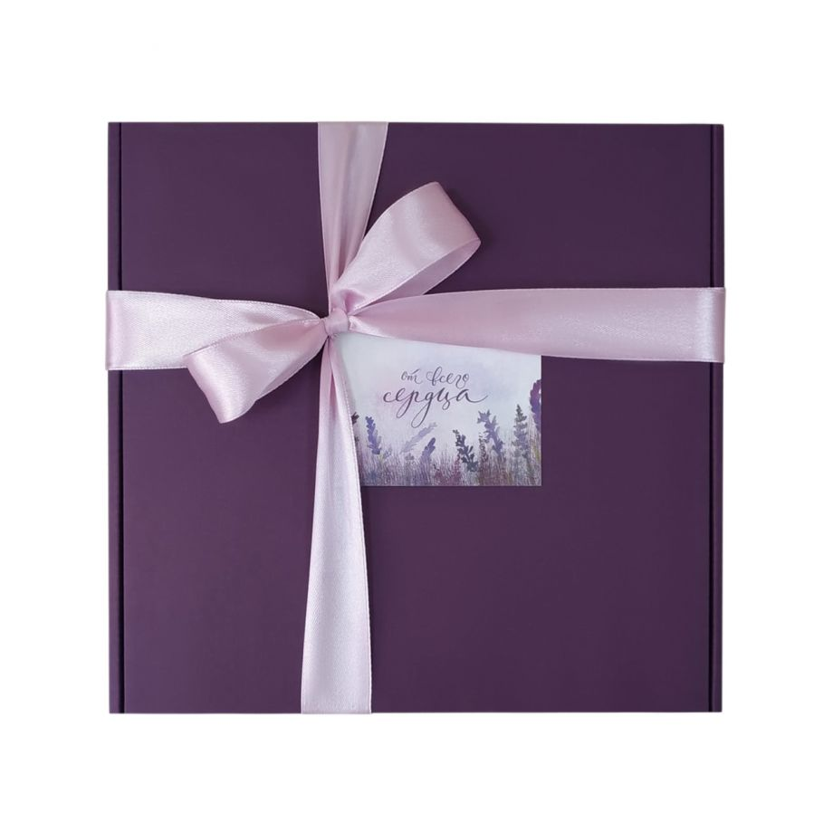 Коробка подарочная, коробка для подарка цвет темно-фиолетовый 220*220*60 мм с наполнителем тишью и атласной лентой.
