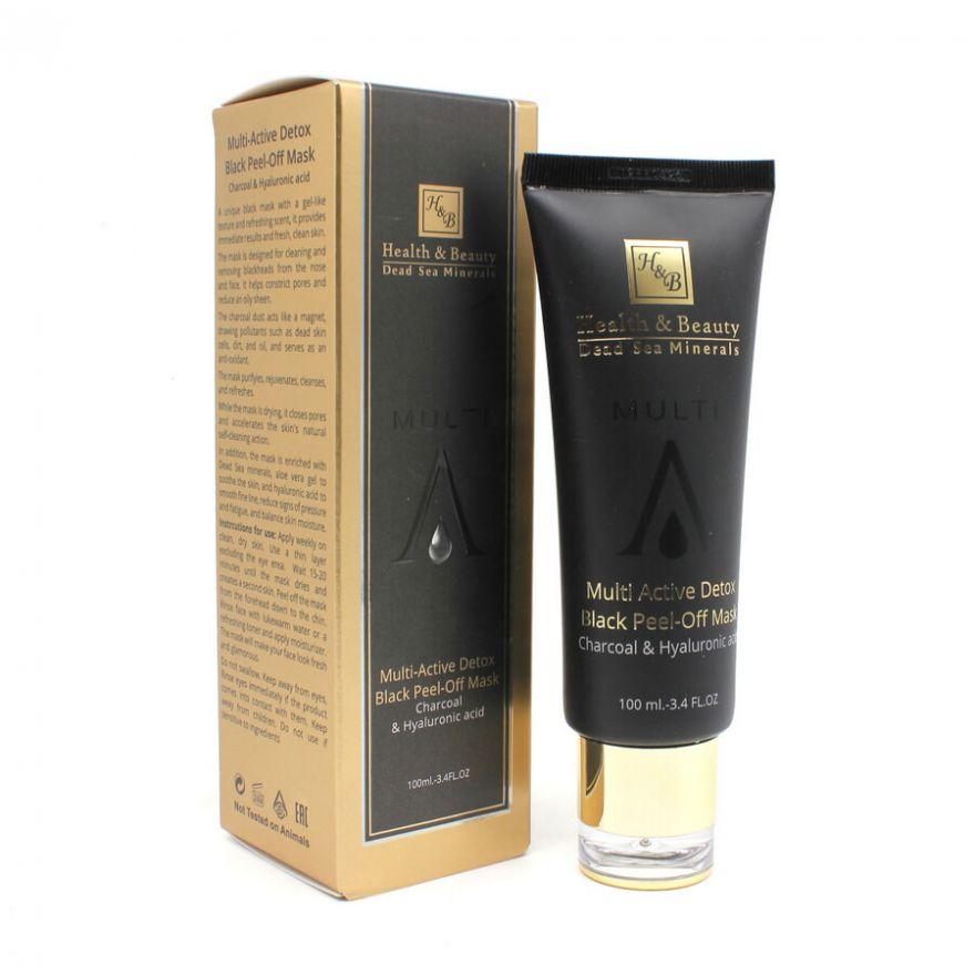 Маска-пленка для глубокой очистки кожи с углем и гиалуроновой кислотой Health & Beauty BLACK (Хелс энд Бьюти Блэк) 100 мл