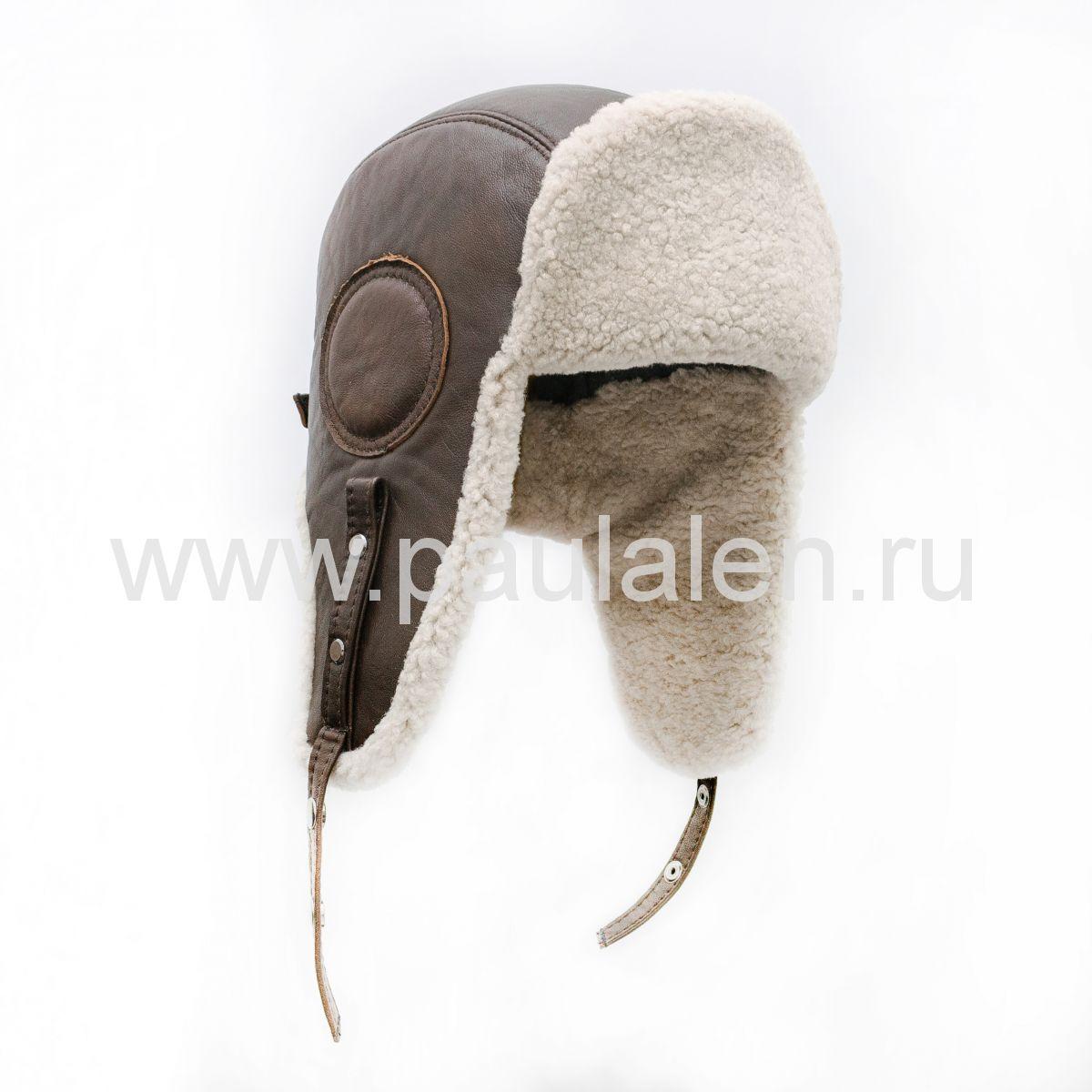 Шлем Авиатор мужской, из натуральной кожи и овчины B017