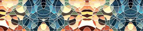 Кухонный фартук BS 184 - Витражное стекло абстракция