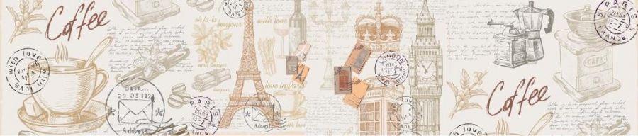 Кухонный фартук BS 195 - Город абстракция кофе Париж Лондон коллаж