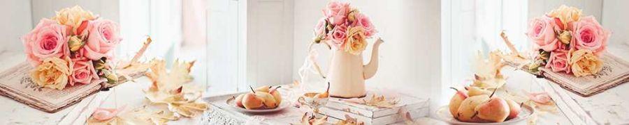 Кухонный фартук BS 50 - Натюрморт груши и розы еда цветы
