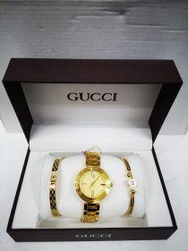 Набор женский: Часы №2 + 2 браслета GUCCI