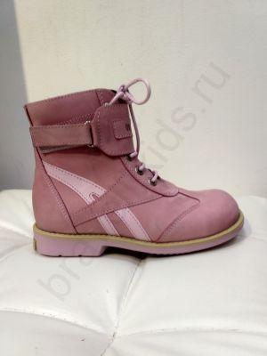 1003 Ortopedia Ботинки Детские (26-30) демисезонные на флисе в розовом цвете