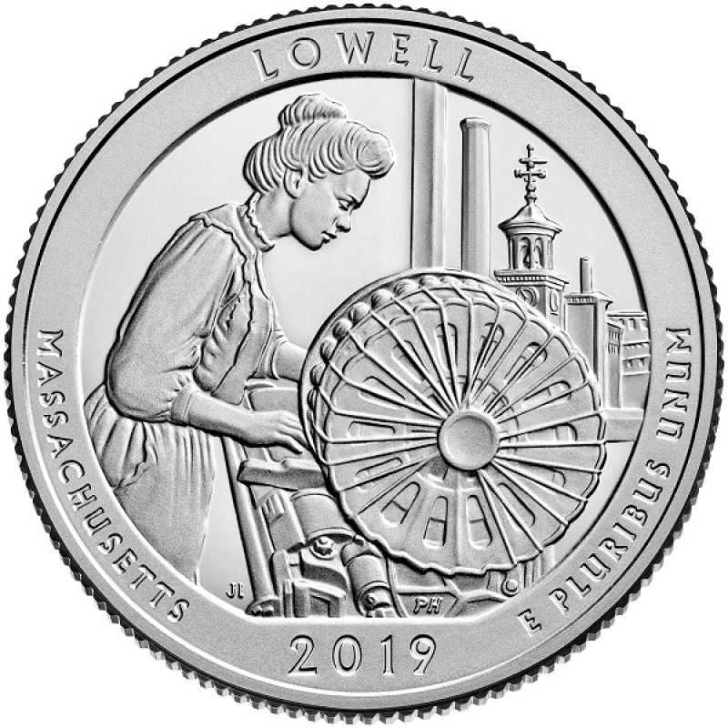 "25 центов 2019г. 46-й парк ""Лоуэлл (Lowell)"""