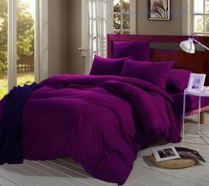 Комплект постельного белья 1,5 сп из однотонного сатина цвет Темно-фиолетовый