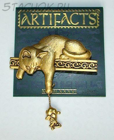 """Брошь """"Кошка и сердитая мышка"""" под античное золото"""