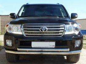 Защита переднего бампера двойная 70х60 мм (LC12-02) для Toyota Land Cruiser 200 2012