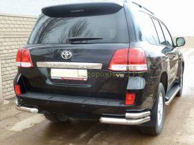 Защита заднего бампера уголки двойные 70х53 мм (LC12-03) для Toyota Land Cruiser 200 2012
