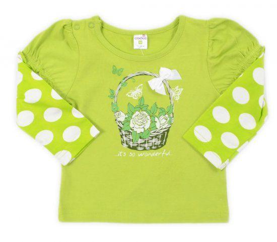 Зеленая кофта для девочки Цветы