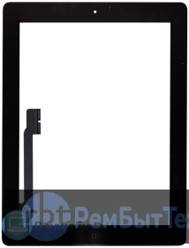 Сенсорное стекло (touchscreen) для Ipad 3 черное + кнопка home