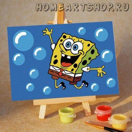 "Картина по номерам ""Губка Боб. Без ума от счастья"" 10х15"