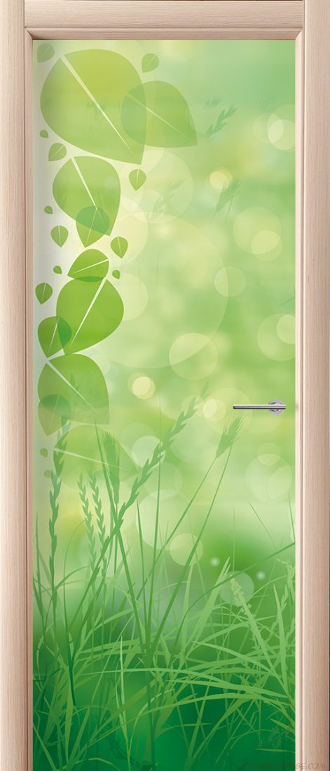 Наклейка на дверь - Зеленая трава