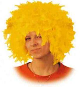 Парик из перьев, жёлто-золотой