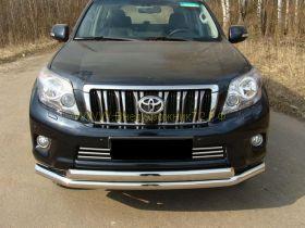 Защита переднего бампера 76х75 мм двойная овальная (TOYLCPR150-01) для Toyota Land Cruiser Prado 150 2010