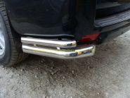 Защита заднего бампера уголки двойные 76х42 мм (TOYLCPR150-04) для Toyota Land Cruiser Prado 150 2010