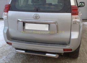 Защита заднего бампера 75х42 мм с накладкой (PNZ-000481) для Toyota Land Cruiser Prado 150 2010