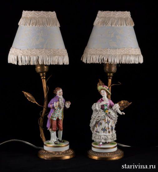Изображение Настольные лампы, Пара в сиреневых костюмах, Muller & Co, Германия, 1907-52 гг