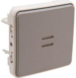 Кнопочный выключатель  Legrand Plexo IP55 с подсветкой 10A НО,серый (арт.69542)
