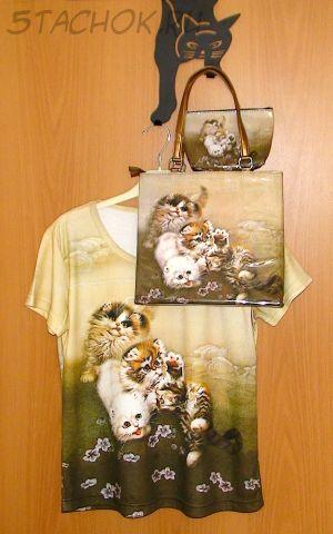 """Трио Кофточка, сумочка и косметичка """"Кошечки в японском стиле - L"""" Butler & Wilson"""