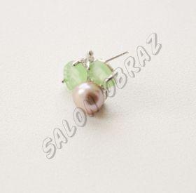 Пусеты жемчуг, нефрит ПУ-002-4