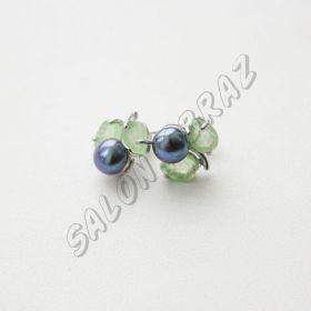 Пусеты жемчуг, нефрит ПУ-002-1