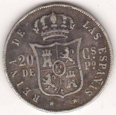20 сантимов 1868 г. Испанские Филиппины