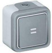 Выключатель-переключатель Plexo с индикацией IP55 серый (арт.69712)