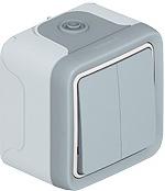 Выключатель-переключатель Plexo двухклавишный IP55 серый (арт.69715)