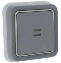 Кнопочный выключатель Н.О. + Н.З. контакты с подсветкой IP55 серый (арт.69821)