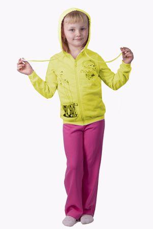 Яркий теплый костюм для девочки