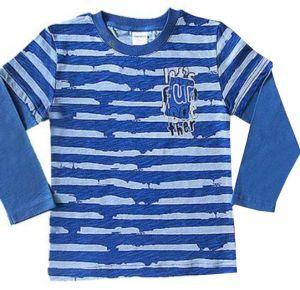Стильный синий джемпер для мальчика в серую полоску