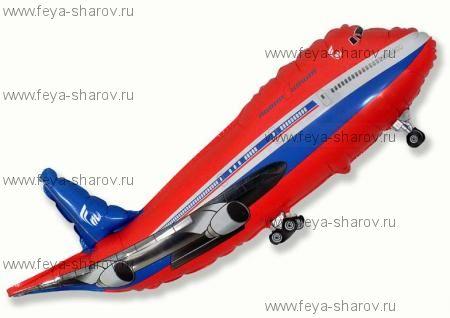 Шар Самолет Красный 81 см