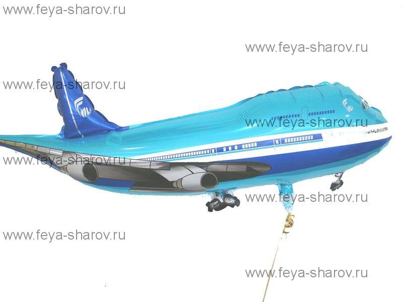 Шар Самолет синий 81 см