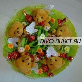 """Букет из игрушек и конфет №046-5к """"Сладкая полянка"""""""