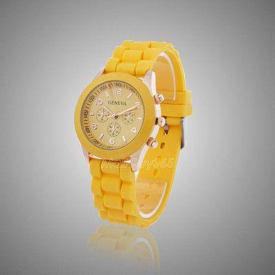 Желтые женские наручные часы Geneva