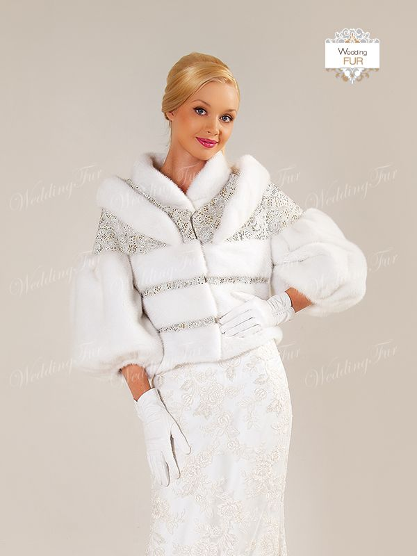 Норковая белая шубка для невесты. Дизайн Скорняковой О.Л.