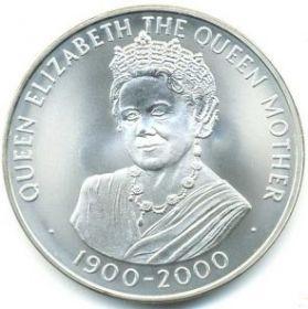 100 лет со Дня рождения Королевы-Матери(1900-2000)50 пенсов Остров Вознесения  2000