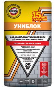 ЮНИС УНИБЛОК - кладочно-монтажный клей (25 кг)