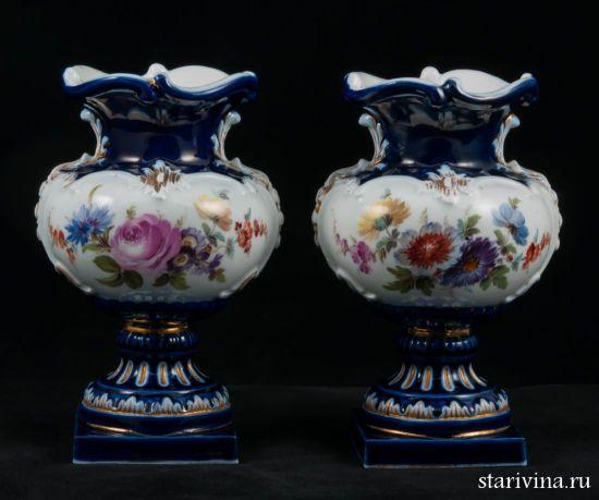 Изображение Две декоративные фарфоровые вазы, Meissen, Германия, 2-ая половина 19 века